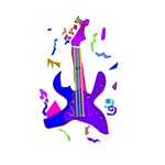 abstract party style purple guitar