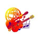 bass guitar globe music red yellow image