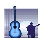 blue acoustic guitar and seated player