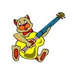 cat playing yellow bass guitar