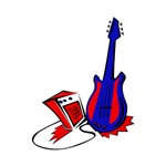 red blue amp and guitar