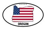 Oregon Shape USA Flag Oval