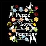Peace Love Harmony, on Black