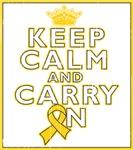 Childhood Cancer Keep Calm Carry On Shirts