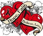 Skin Cancer Hope Faith Dual Hearts Shirts