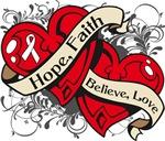 Bone Cancer Hope Faith Dual Hearts Shirts
