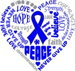 Colon Cancer Heart Words Shirts