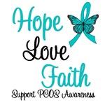 Hope Love Faith PCOS Awareness T-Shirts