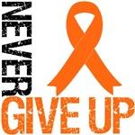 Never Give Up Orange Ribbon Shirts & Gifts