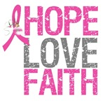Hope Love Faith Pink Ribbon X-Mas Cards (1)