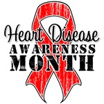 Red Distressed Ribbon Heart Disease Month
