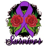 Pancreatic Cancer Survivor Rose Tattoo Shirts and