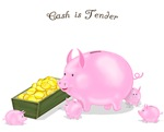 Cash is Tender Piggy Bank Mom & Babies
