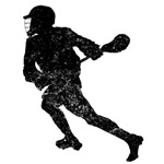 Distressed Lacrosse Player Silhouette