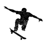 Distressed Skateboarder Silhouette
