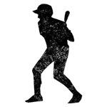 Distressed Baseball Batter Silhouette