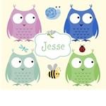 Personalize it! Owl Friends Blue template