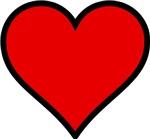 Plain Red Heart w/ black outline