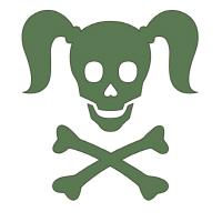 Curly Girlie Skull in green