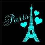 Paris Teal Black Hearts