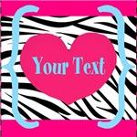 Personalized Zebra Heart