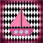 Pink Sailboat Black