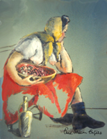 RED SKIRTED WOMAN