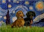 STARRY NIGHT<br>& Dachshund Pair