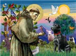 SAINT FRANCIS<br>& Black Labrador Retriever