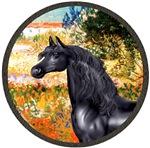 Black Arabian Horse<br>In Garden Fiorito