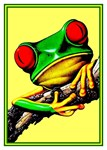 Tree Frog Fantasy Art Deco Fun Print