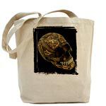 Black Skull With Bronze Decoration