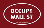 Occupy Wall St Oval Stickers Red
