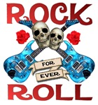 Rock N Roll logo Blue guitars