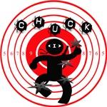 Chuck Ninja Man Throwing Stars 4 Target Board