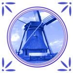 Holland Windmill Dutch Delftware Style Tile