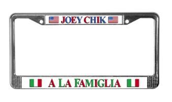 Joey Chik Italian American License Plates Frames
