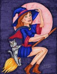 Witch, Cat and full moon
