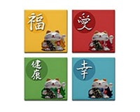 Japanese Fortune Cat Tile Coasters