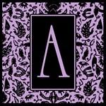 Purple and Black Fancy Monogram Tote Bag A- Z