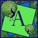 Peacock Themed Monogram Totebag