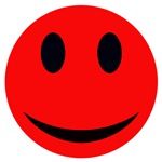 Red Smiley Face With Black Eyes