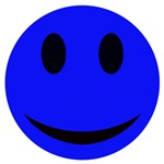 Blue Smiley Face With Black Eyes