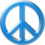 Blue Chrome Peace Sign