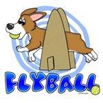 Running Cartoon Corgi Flyball