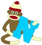 Sock Monkey Monogram Boy N