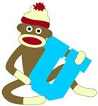 Sock Monkey Monogram Boy U