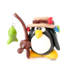 Clay Fishing Penguin