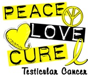 PEACE LOVE CURE Testicular Cancer T-Shirts & Gifts