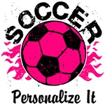 Personalized Hot Pink Soccer Flames